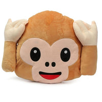 "NO HEAR MONKEY EMOJI PILLOW, 17"" INCHES"