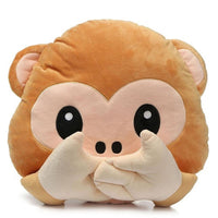 "NO TALK MONKEY EMOJI PILLOW, 17"" INCHES"
