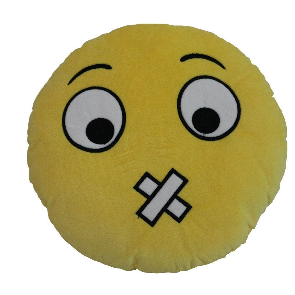 "NO TALK SILLY EMOTICON PLUSH PILLOW, 12"" INCHES"