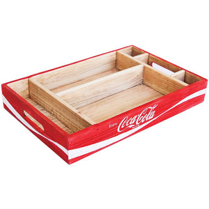 LICENSED Coca Cola Red Wood Crate Desktop Organiser Table Retro Coke