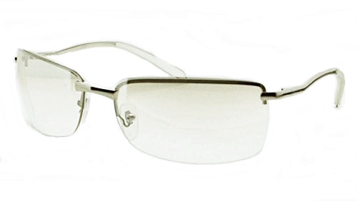 CLEAR LENS METAL SILVER HALF FRAME PRESCRIPTION SUN-GLASSES UNISEX MEN WOMEN NEW