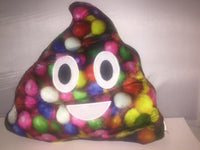 "RAINBOW M&M POOP EMOJI PILLOW, 13"" INCHES"
