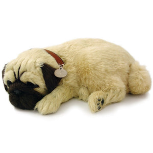 PERFECT PETZZZ PUG PLUSH PUPPY BREATHING HUGGABLE ANIMAL DOG REAL PET SOFT TOY