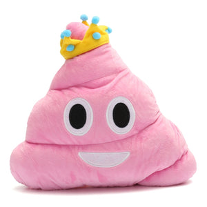 "PINK POOP W/ CROWN EMOJI PILLOW, 13"" INCHES"