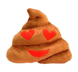 "HEART EYES POOP EMOTICON PLUSH PILLOW, 13"" INCHES"