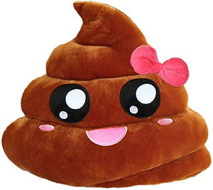 "POOP W/ PINK RIBBON EMOTICON PLUSH PILLOW, 13"" INCHES"