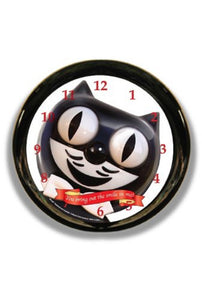 "Classic Vintage Retro Round Kit-Cat Klock 12"" Black Clock Rolling Eye Tail Kitty"