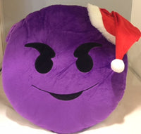 "PURPLE SANTA HAT DEVIL EMOJI PILLOW, 12"" INCHES"