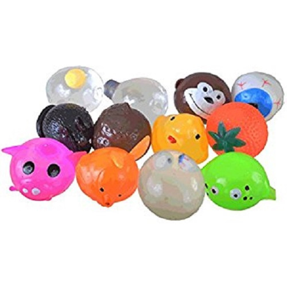 SET OF 60 PIECES SPLAT BALLS SQUEEZE ASSORTMENT MIX SQUISHY TOYS STRESS RELIEF