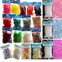 SET OF 3000 PCS COLORS (GLOW IN DARK,METALLIC, TIE DYE, PLAIN, NEON) DIY LOOM RUBBER BAND REFILLS