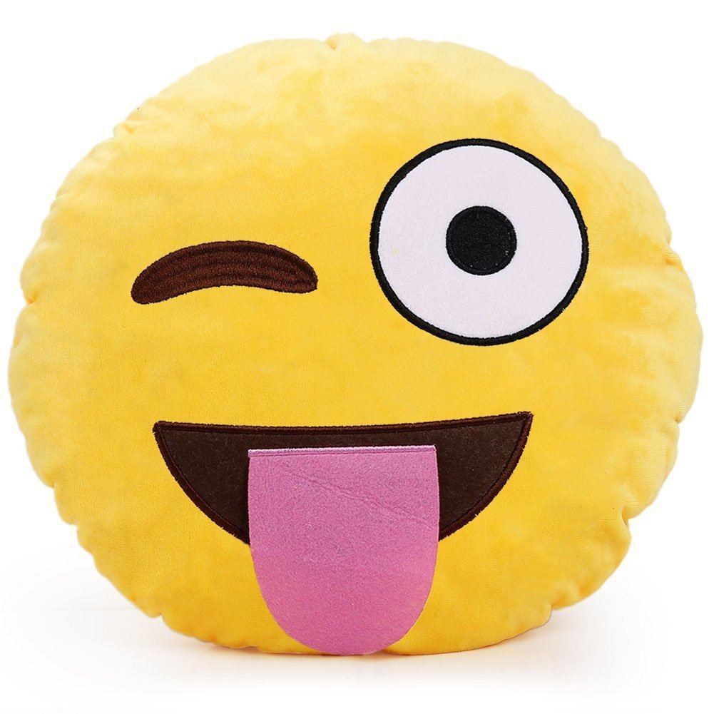 "CRAZY WINK TONGUE OUT EMOJI PILLOW, 12"" INCHES"
