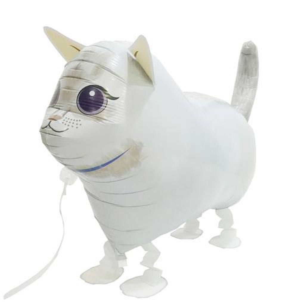 WHITE CAT WALKING BALLOON ANIMAL