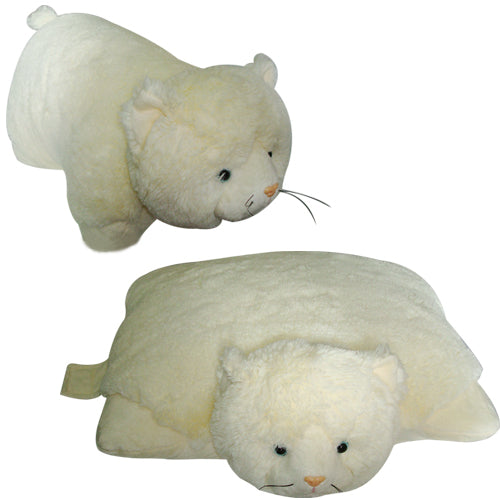 "LARGE WHITE CAT PET PILLOW 18"" inches, My Friendly Kitty Toy"