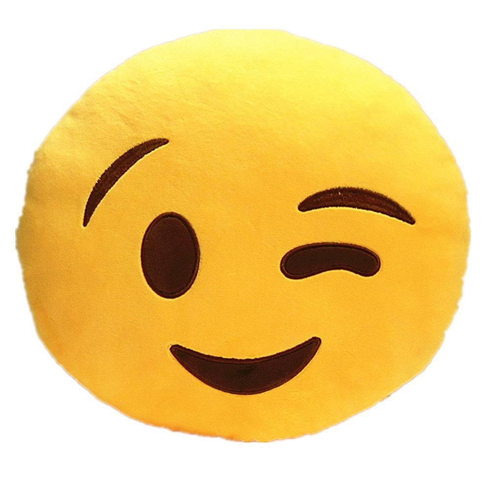 "WINK EMOJI PILLOW, 12"" INCHES"