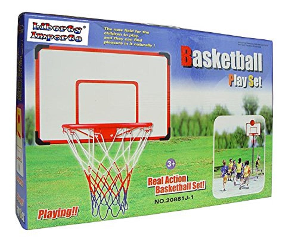 "Indoor/Outdoor XL Big Basketball Hoop Set - 27"" x 18"" Backboard + 15"" Rim Sports"