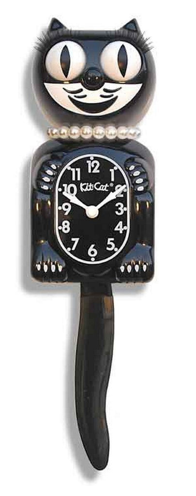 "Classic Vintage Kit-Cat Klock 15 1/2"" Black Lady LBC-1 Clock Rolling Eyes Tail"