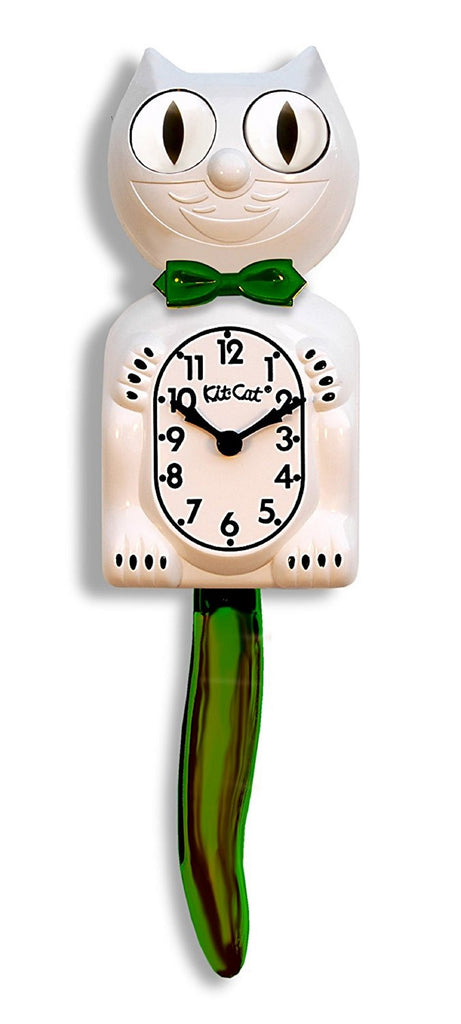 "Classic Vintage Kit-Cat Klock 15 1/2"" Candy Cane Green Boy Clock Rolling Eyes"