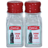 Coca-Cola Glass Salt&Pepper Shaker Set Fishtail Retro Bottle Arciform Bottle Ice