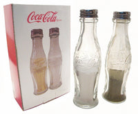 Coca-Cola Glass Salt&Pepper Shaker Set Fishtail Retro Bottle Arciform Clear