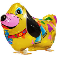 GOLD COLORFUL DOG WALKING BALLOON ANIMAL