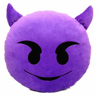 "PURPLE DEVIL EMOJI PILLOW, 12"" INCHES"