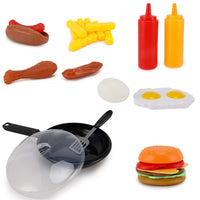 25 Piece Fast Food Playset Cooking Pan Spatula Cheeseburger Hotdog