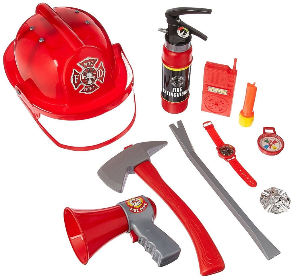 10Pcs Fireman Gear Firefighter Costume Play Set Helmet Accessories