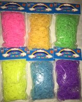 SET OF 2400 PCS GLOW IN DARK COLORS (BLUE, PINK, ORANGE, YELLOW, GREEN, PURPLE) DIY LOOM RUBBER BAND REFILLS