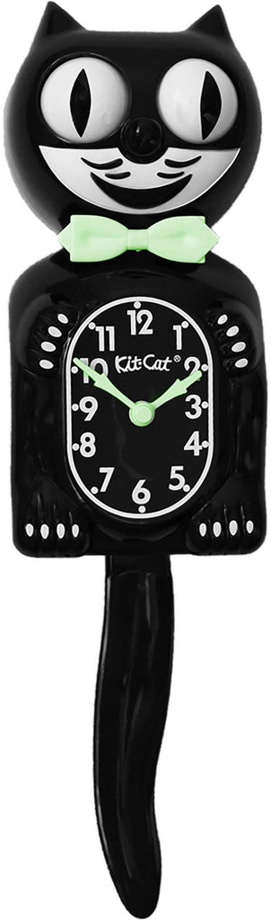 "Classic Vintage Retro Kit-Cat Klock 15 1/2"" Black Glow In Dark Clock Rolling Boy"