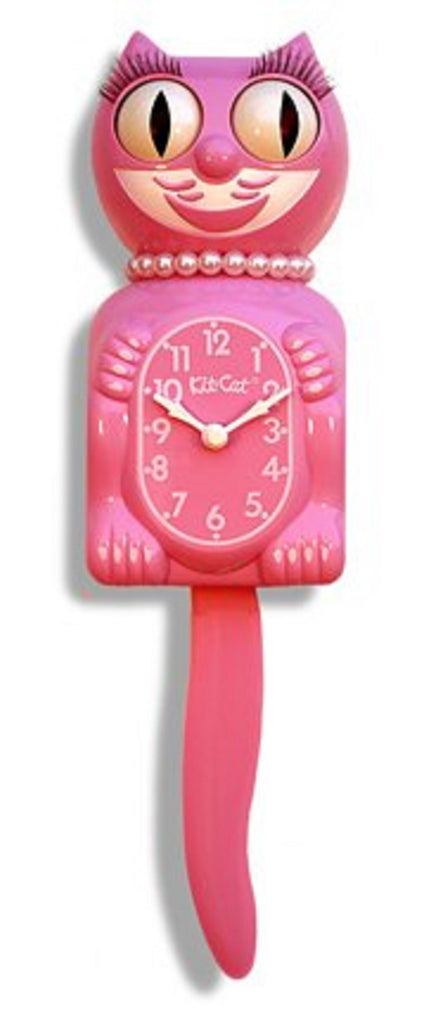 "Classic Vintage Retro Kit-Cat Klock 15 1/2"" Strawberry Pink Lady Clock Rolling"