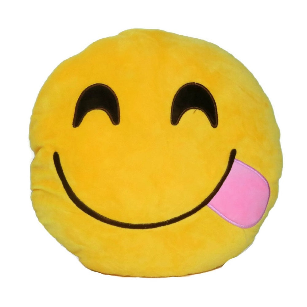 "LICKING EMOTICON PLUSH PILLOW, 12"" INCHES"