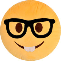 "NERD BOY EMOJI PILLOW, 12"" INCHES"