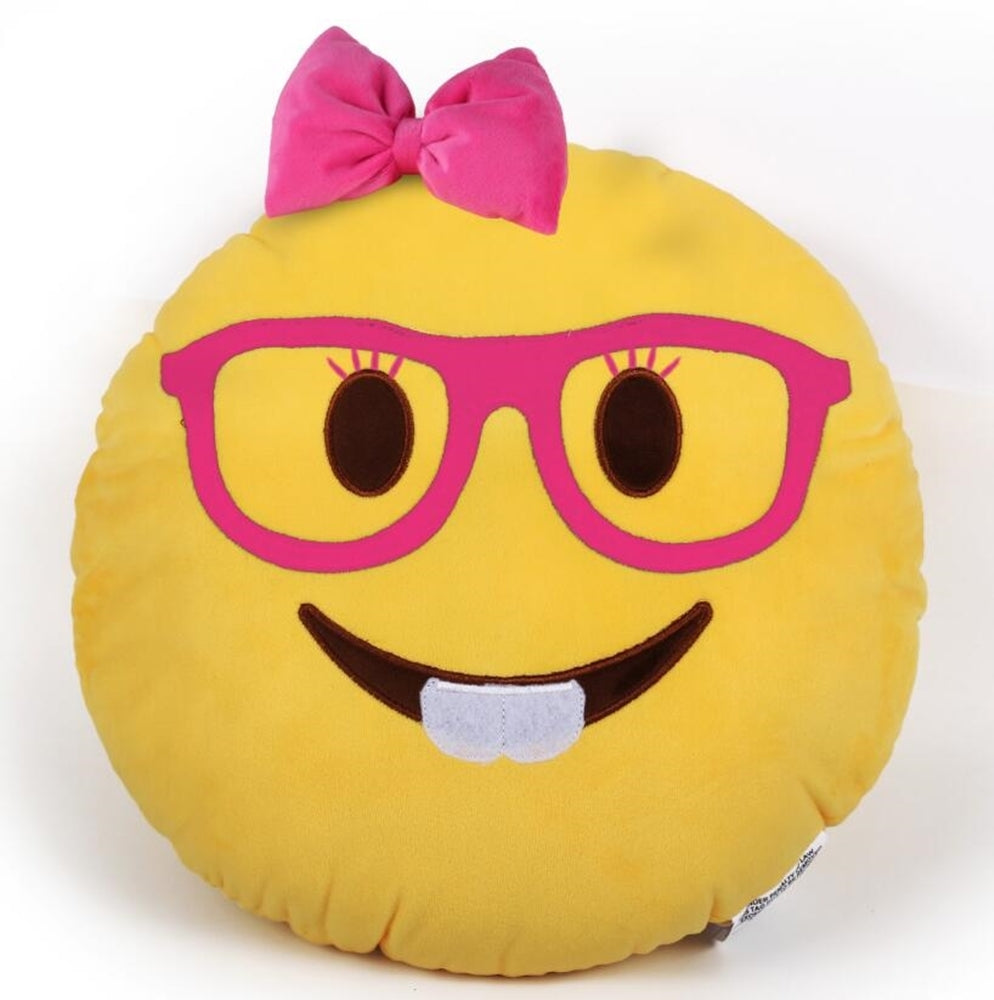 "NERD GIRL EMOJI PILLOW, 12"" INCHES"