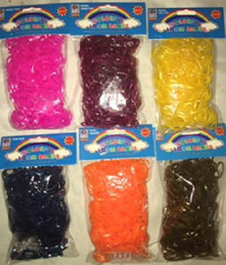 SET OF 3600 PCS METALLIC PEARL COLORS (BLUE, PINK, BROWN, DARK RED, YELLOW, ORANGE) DIY LOOM RUBBER BAND REFILLS
