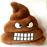 "ANGRY POOP EMOJI PILLOW, 13"" INCHES"