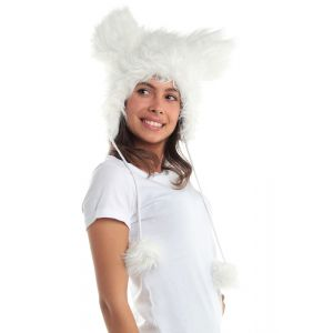 Smart White Mouse Faux Fur Animal Hat Hood Winter Ski Snow Pet Plush Poms Miki