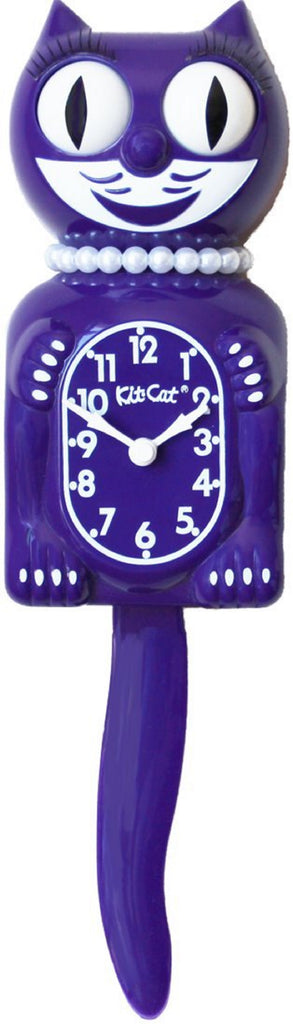 "Classic Vintage Retro Kit-Cat Klock 15 1/2"" Violet Purple Lady Clock Rolling Eye"