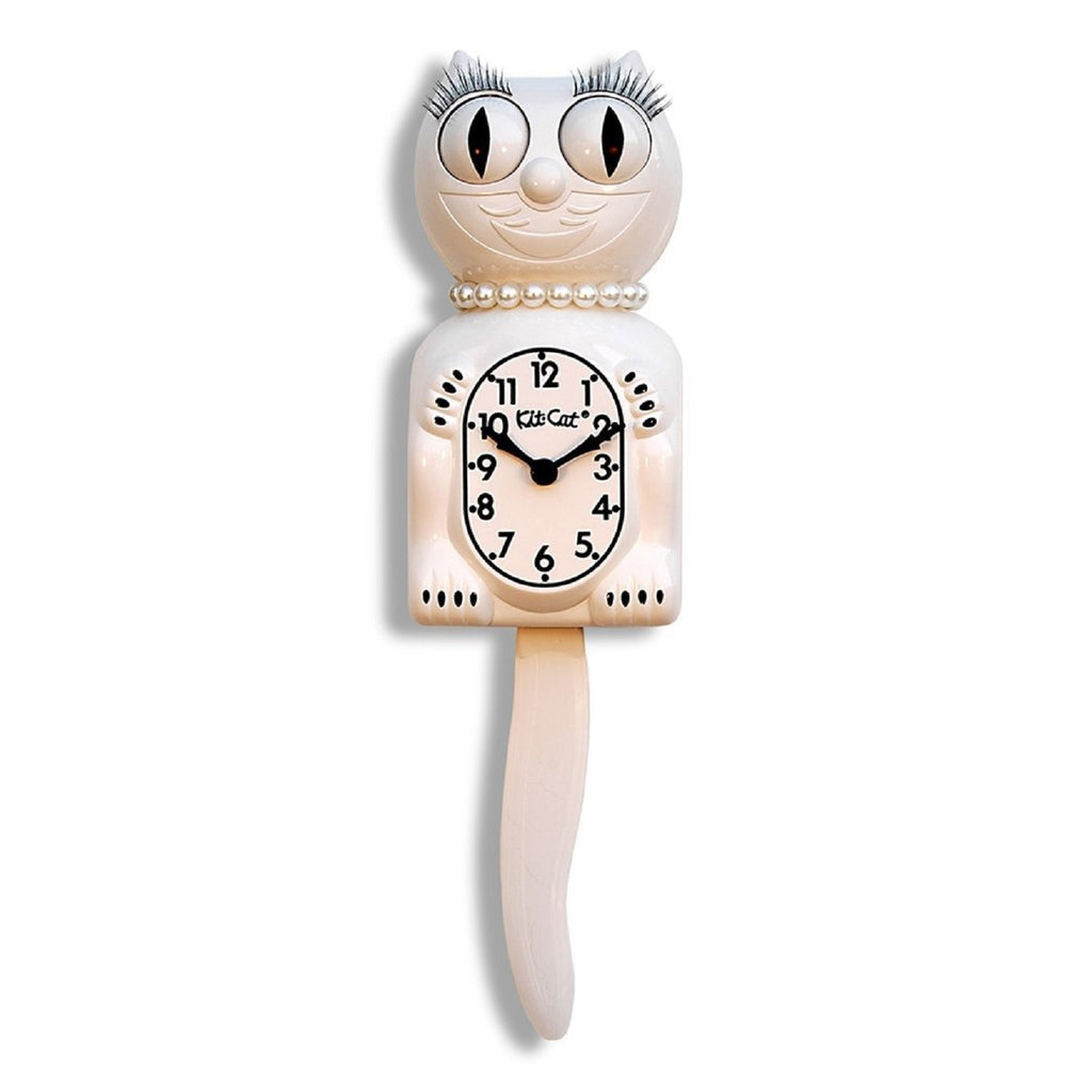 "Classic Vintage Retro Kit-Cat Klock 15 1/2"" White Lady Clock Rolling Eyes Tail"
