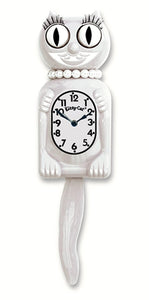 "Classic Vintage Retro Kit-Cat Klock 12 3/4"" White Miss Kitty Clock Rolling Eyes"
