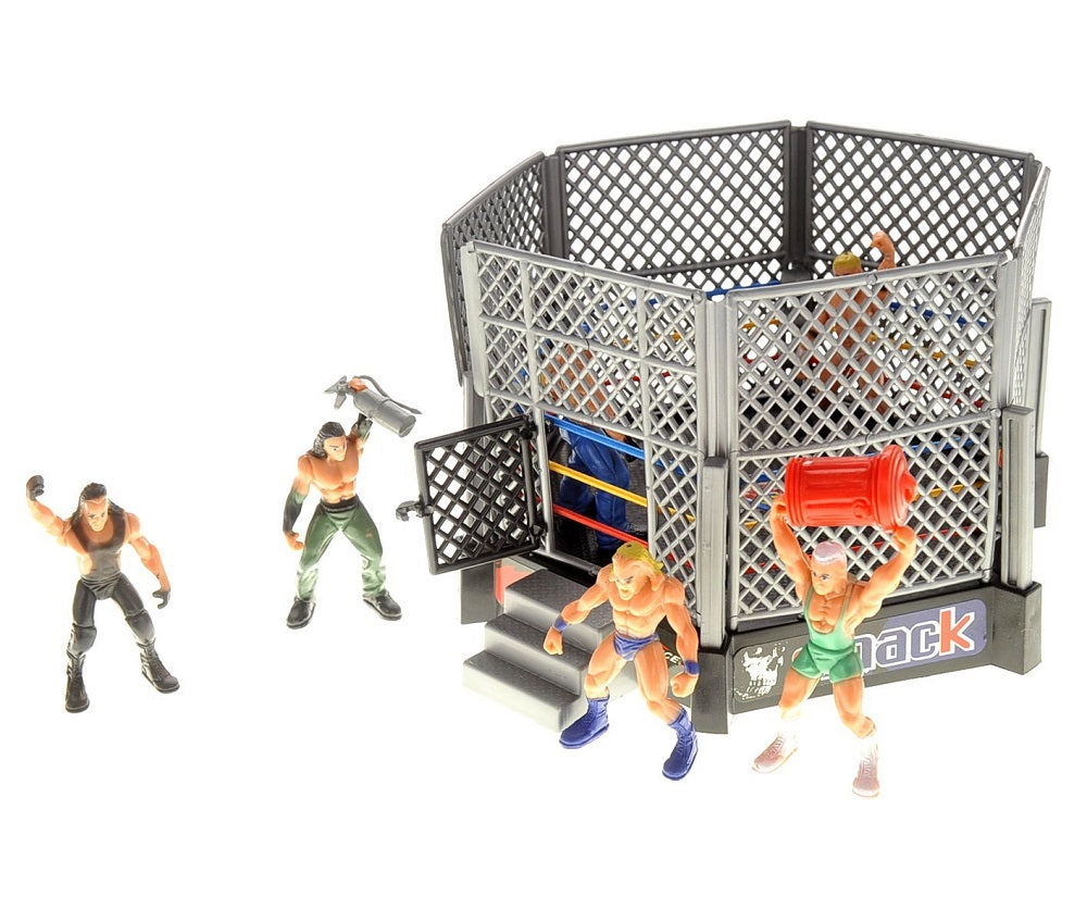 Wrestling Toy Figure Set w/ Ring Wrestle Action Smack 12 Figures Arena Iron Rail