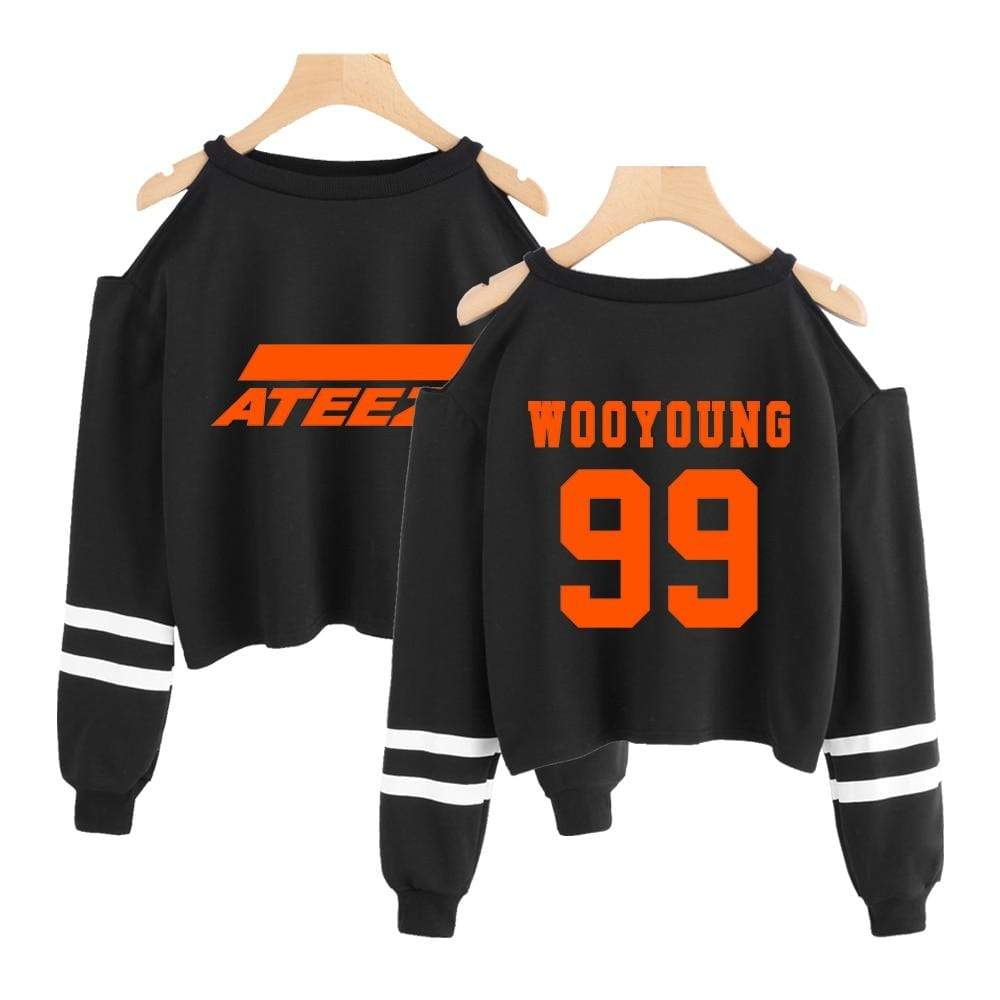 Ateez Apparel: Hoodies, Sweatshirts Cold Shoulder Bias Cropped Sweatshirt Wooyoung / XXL