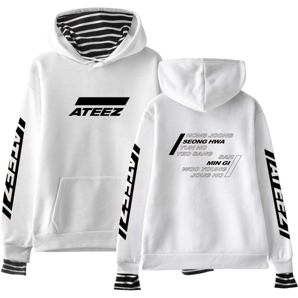 Ateez Apparel: Hoodies, Sweatshirts Logo Layered Striped Hoodie | White XXL