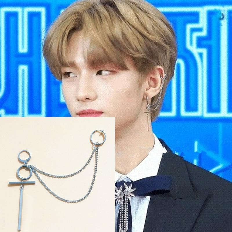 Celeb Style Accessories: Jewelry Dress Like Hyunjin: Double Chain Earring