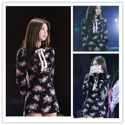 Celeb Style Apparel: Dresses Dress Like Jennie: Black Floral Print Short Dress