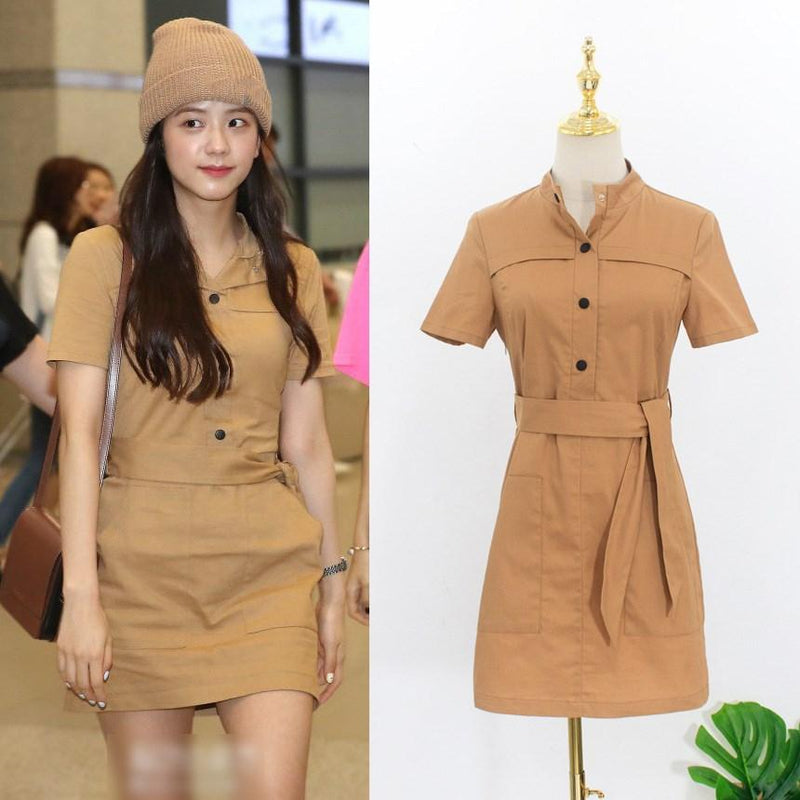 Celeb Style Apparel: Dresses Dress Like Jisoo: Light Brown Single Breasted Belt Dress