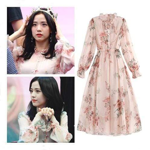 Celeb Style Apparel: Dresses Dress Like Jisoo: Pink Floral Chiffon Midi Dress