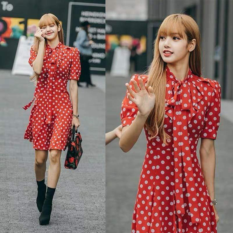 Celeb Style Apparel: Dresses Dress Like Lisa: Red Polka-Dot Bow A-Line Dress