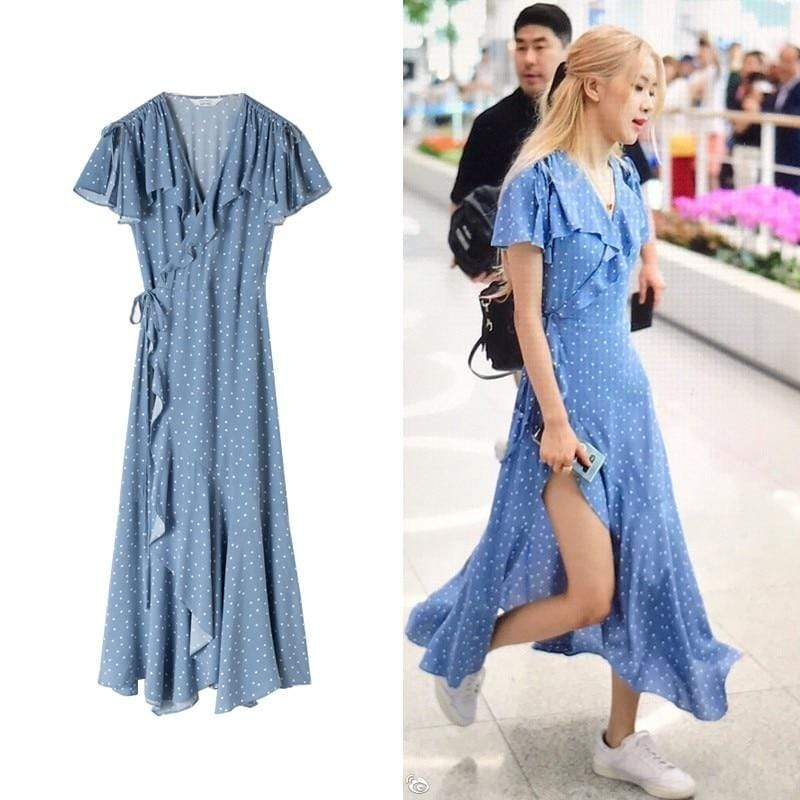 Celeb Style Apparel: Dresses Dress Like Rosé: Blue Wave Asymmetrical Ruffle Dress