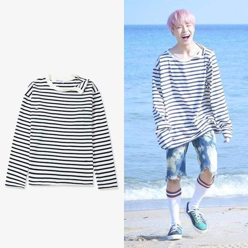 Celeb Style Apparel: Hoodies, Sweatshirts Dress Like Jimin: Irregular Striped Sweatshirt S
