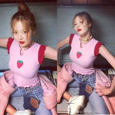 Celeb Style Apparel: T-Shirts, Tops Dress Like Hyuna: Strawberry Fashion T Shirt